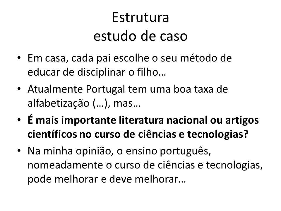 Estrutura estudo de caso • Em casa, cada pai escolhe o seu método de educar de disciplinar o filho… • Atualmente Portugal tem uma boa taxa de alfabeti