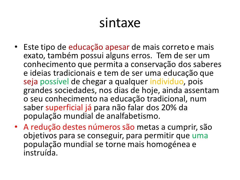 sintaxe • Este tipo de educação apesar de mais correto e mais exato, também possui alguns erros. Tem de ser um conhecimento que permita a conservação