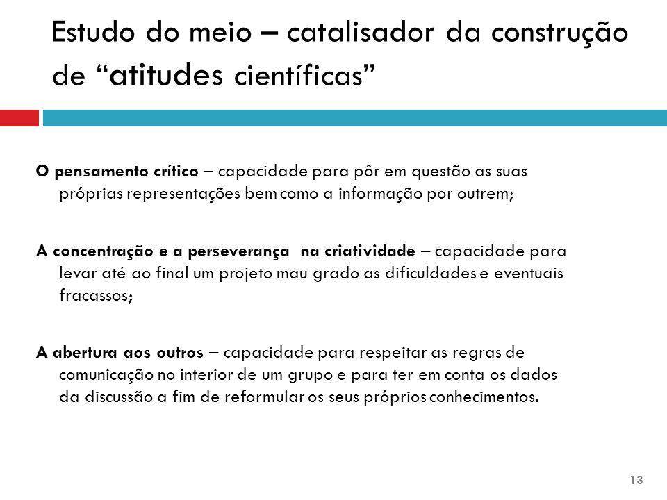 """Estudo do meio – catalisador da construção de """" atitudes científicas"""" O pensamento crítico – capacidade para pôr em questão as suas próprias represent"""