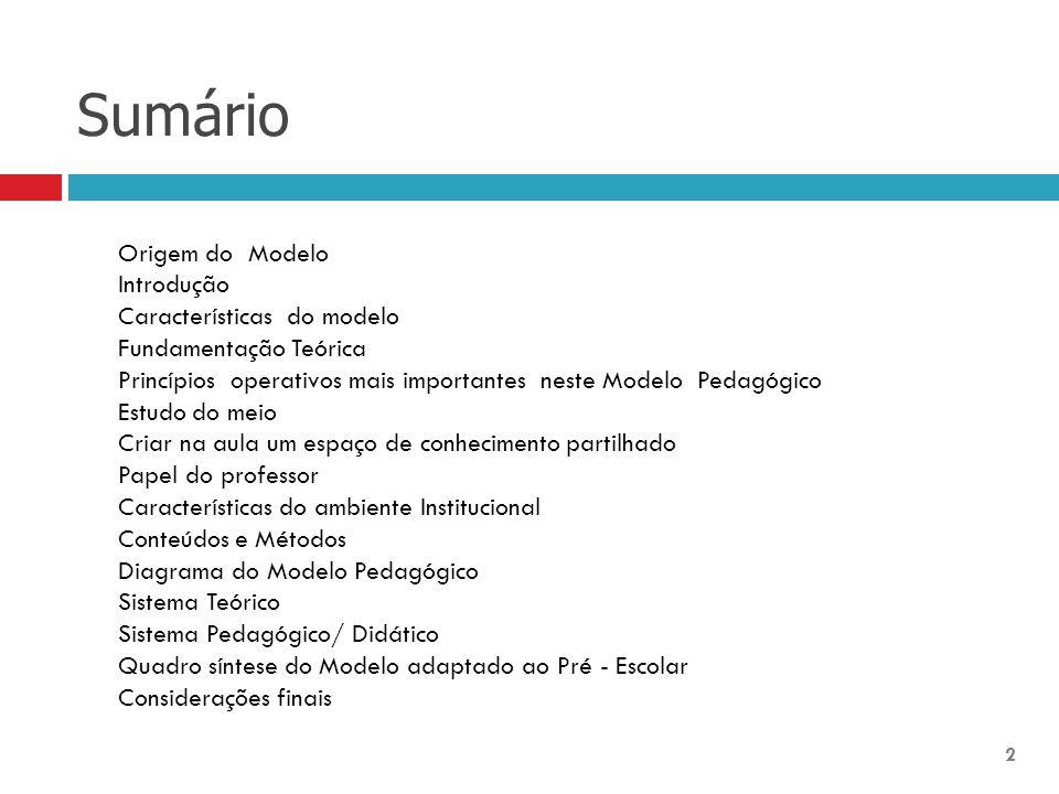 Sumário 2 Origem do Modelo Introdução Características do modelo Fundamentação Teórica Princípios operativos mais importantes neste Modelo Pedagógico E