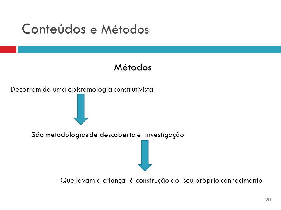 Conteúdos e Métodos Métodos Decorrem de uma epistemologia construtivista São metodologias de descoberta e investigação Que levam a criança á construção do seu próprio conhecimento 20