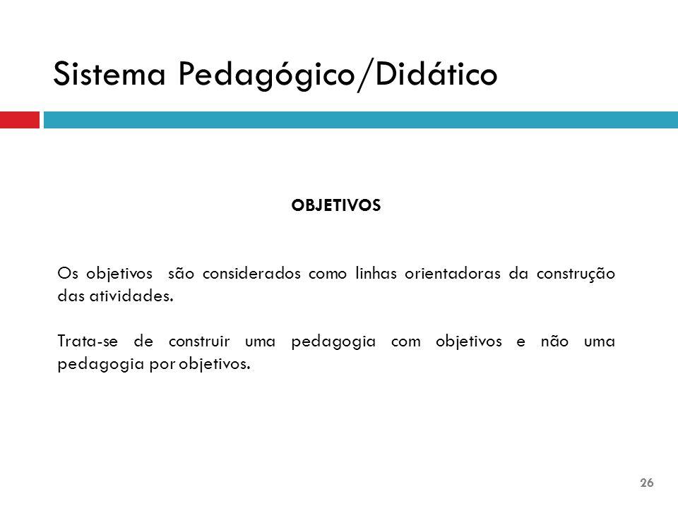 OBJETIVOS Os objetivos são considerados como linhas orientadoras da construção das atividades. Trata-se de construir uma pedagogia com objetivos e não