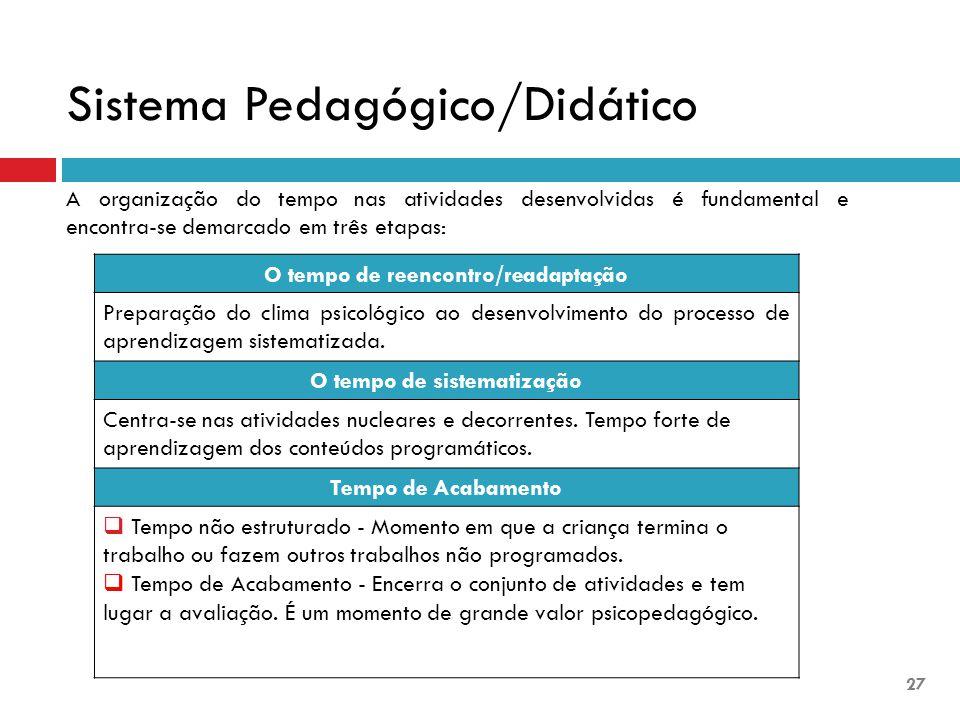 A organização do tempo nas atividades desenvolvidas é fundamental e encontra-se demarcado em três etapas: O tempo de reencontro/readaptação Preparação do clima psicológico ao desenvolvimento do processo de aprendizagem sistematizada.