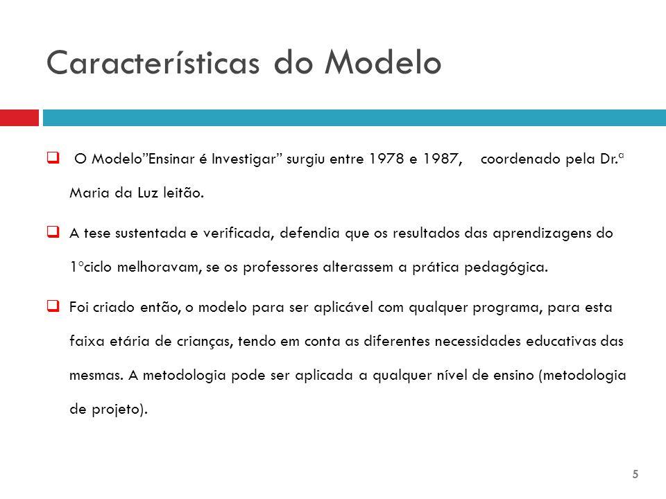 "Características do Modelo  O Modelo""Ensinar é Investigar"" surgiu entre 1978 e 1987, coordenado pela Dr.ª Maria da Luz leitão.  A tese sustentada e v"