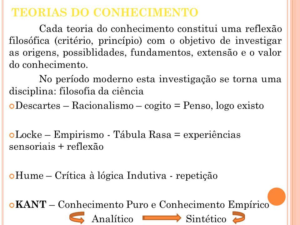 TEORIAS DO CONHECIMENTO Cada teoria do conhecimento constitui uma reflexão filosófica (critério, princípio) com o objetivo de investigar as origens, p