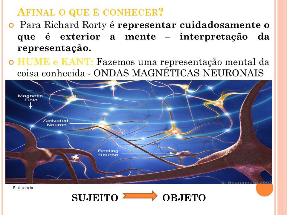 A FINAL O QUE É CONHECER ? Para Richard Rorty é representar cuidadosamente o que é exterior a mente – interpretação da representação. HUME e KANT: Faz