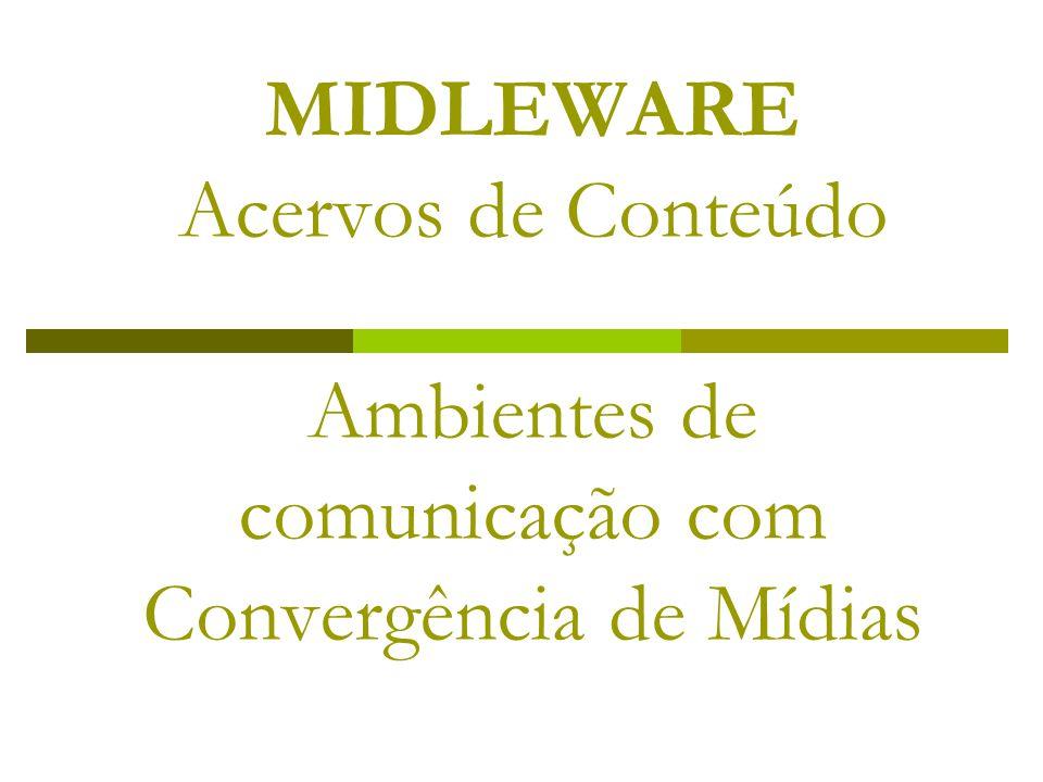MIDLEWARE Acervos de Conteúdo Ambientes de comunicação com Convergência de Mídias