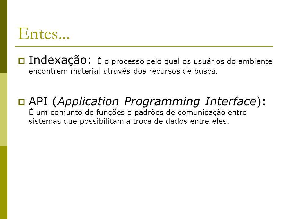 Entes...  Indexação: É o processo pelo qual os usuários do ambiente encontrem material através dos recursos de busca.  API (Application Programming