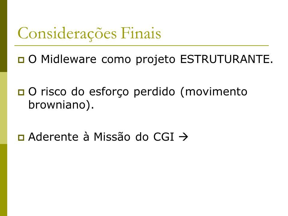 Considerações Finais  O Midleware como projeto ESTRUTURANTE.  O risco do esforço perdido (movimento browniano).  Aderente à Missão do CGI 
