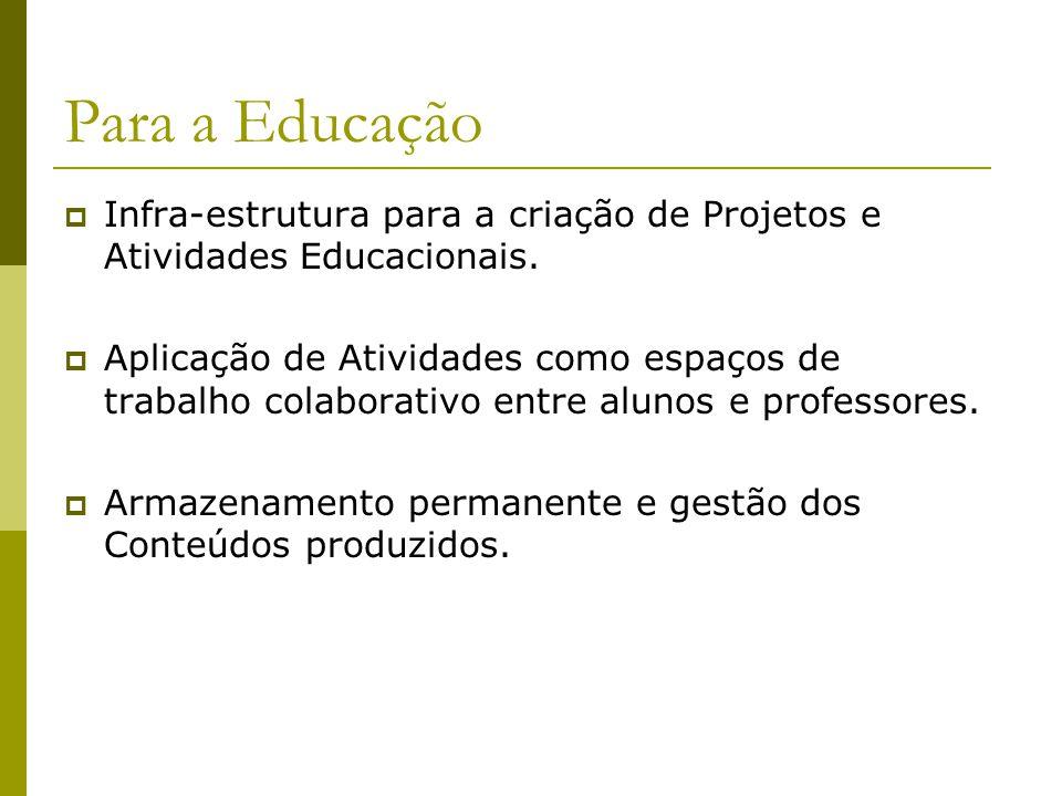 Para a Educação  Infra-estrutura para a criação de Projetos e Atividades Educacionais.  Aplicação de Atividades como espaços de trabalho colaborativ