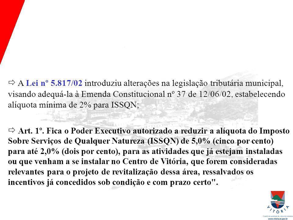 Histórico da política fiscal (lâmina 1)  A Lei nº 5.817/02 introduziu alterações na legislação tributária municipal, visando adequá-la à Emenda Constitucional nº 37 de 12/06/02, estabelecendo alíquota mínima de 2% para ISSQN;  Art.