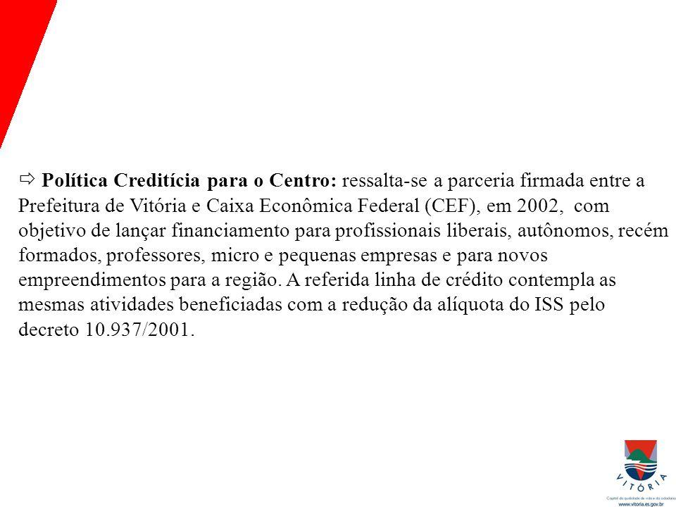  Política Creditícia para o Centro: ressalta-se a parceria firmada entre a Prefeitura de Vitória e Caixa Econômica Federal (CEF), em 2002, com objeti