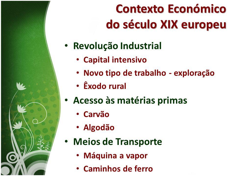 • Revolução Industrial • Capital intensivo • Novo tipo de trabalho - exploração • Êxodo rural • Acesso às matérias primas • Carvão • Algodão • Meios d