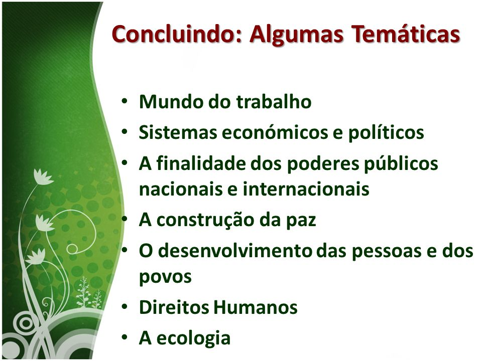 • Mundo do trabalho • Sistemas económicos e políticos • A finalidade dos poderes públicos nacionais e internacionais • A construção da paz • O desenvo