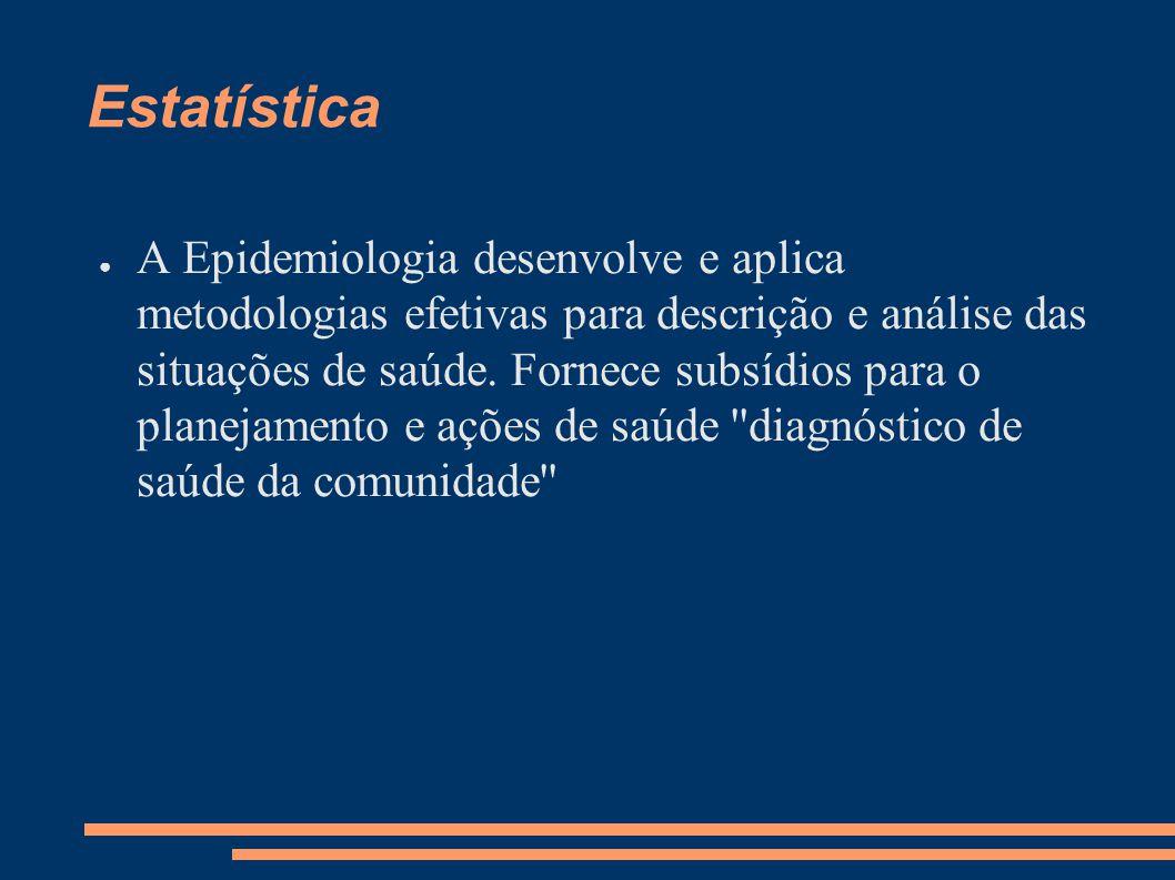 Estatística ● A Epidemiologia desenvolve e aplica metodologias efetivas para descrição e análise das situações de saúde. Fornece subsídios para o plan