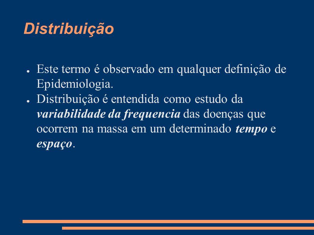 Distribuição ● Este termo é observado em qualquer definição de Epidemiologia. ● Distribuição é entendida como estudo da variabilidade da frequencia da