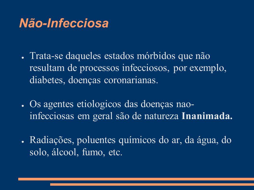 Não-Infecciosa ● Trata-se daqueles estados mórbidos que não resultam de processos infecciosos, por exemplo, diabetes, doenças coronarianas. ● Os agent
