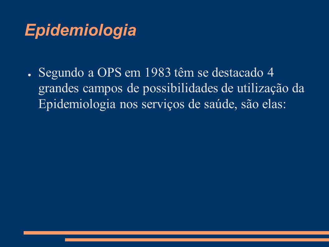 Epidemiologia ● Segundo a OPS em 1983 têm se destacado 4 grandes campos de possibilidades de utilização da Epidemiologia nos serviços de saúde, são el