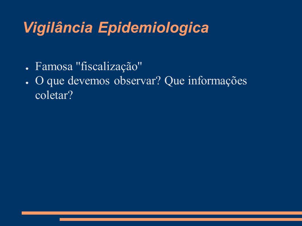 Vigilância Epidemiologica ● Famosa ''fiscalização'' ● O que devemos observar? Que informações coletar?