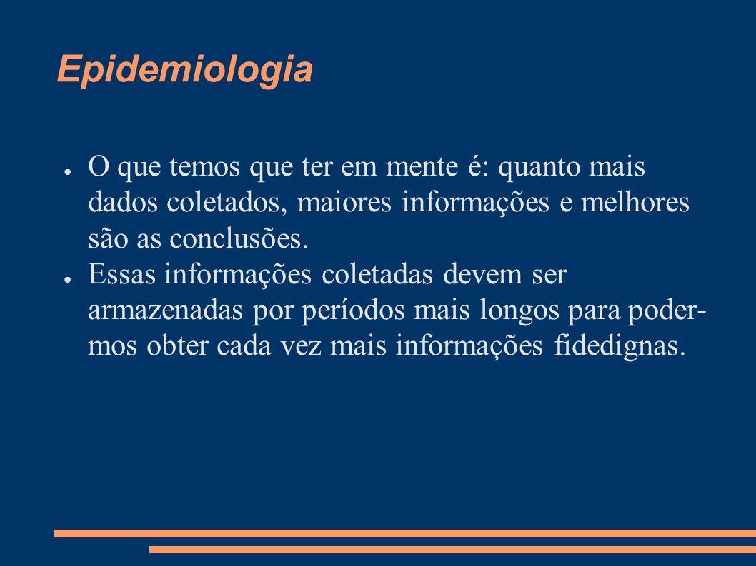 Epidemiologia ● O que temos que ter em mente é: quanto mais dados coletados, maiores informações e melhores são as conclusões. ● Essas informações col