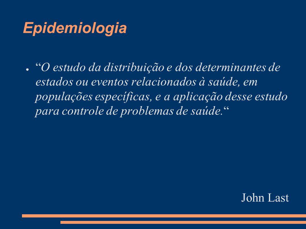 """Epidemiologia ● """"O estudo da distribuição e dos determinantes de estados ou eventos relacionados à saúde, em populações específicas, e a aplicação des"""