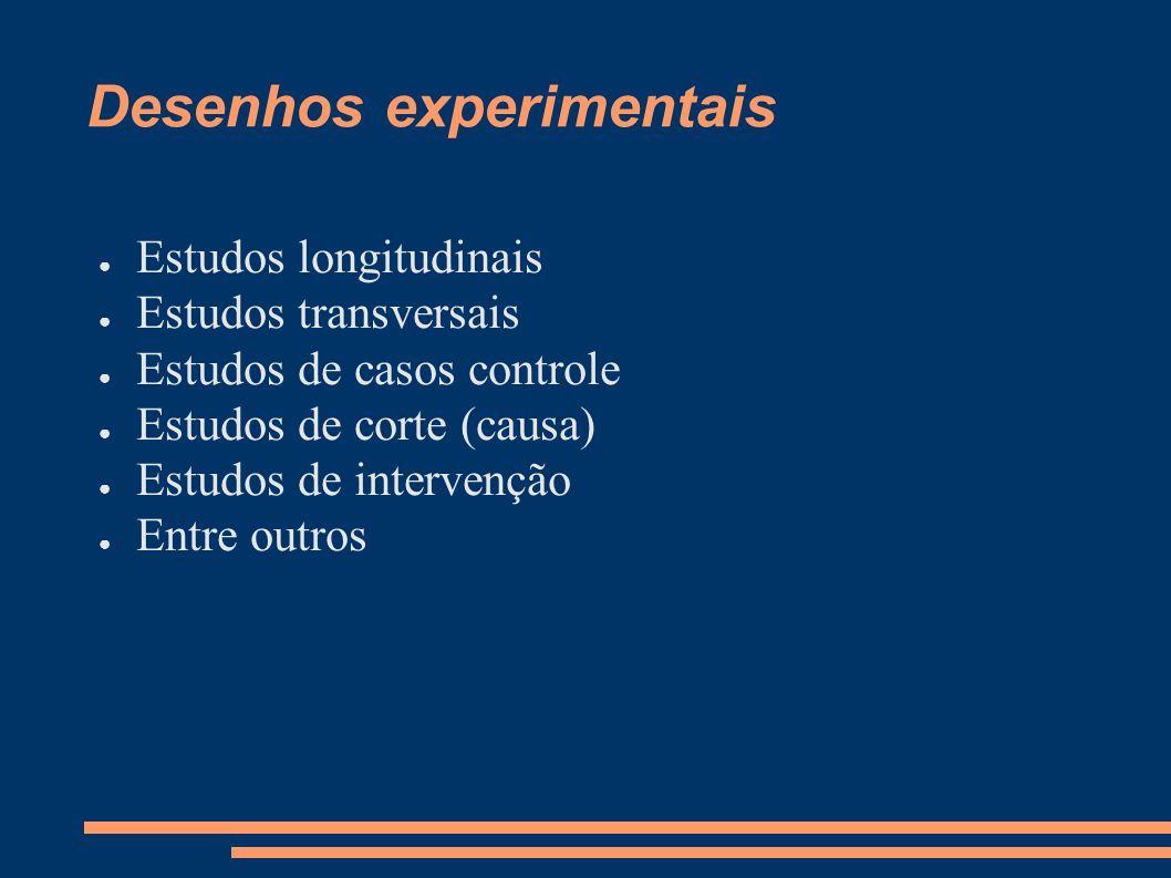 Desenhos experimentais ● Estudos longitudinais ● Estudos transversais ● Estudos de casos controle ● Estudos de corte (causa) ● Estudos de intervenção