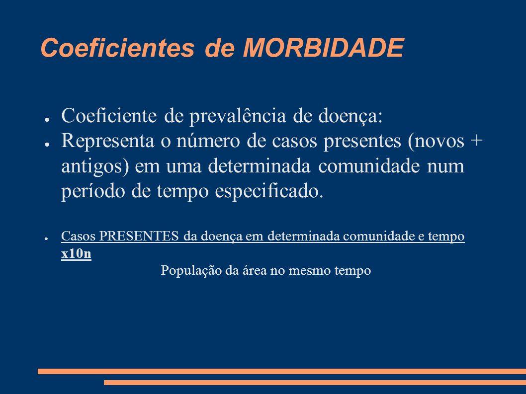 Coeficientes de MORBIDADE ● Coeficiente de prevalência de doença: ● Representa o número de casos presentes (novos + antigos) em uma determinada comuni
