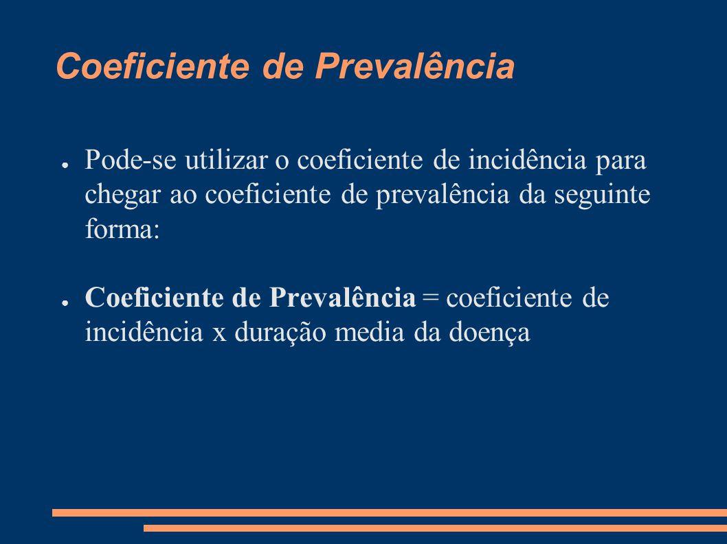 Coeficiente de Prevalência ● Pode-se utilizar o coeficiente de incidência para chegar ao coeficiente de prevalência da seguinte forma: ● Coeficiente d