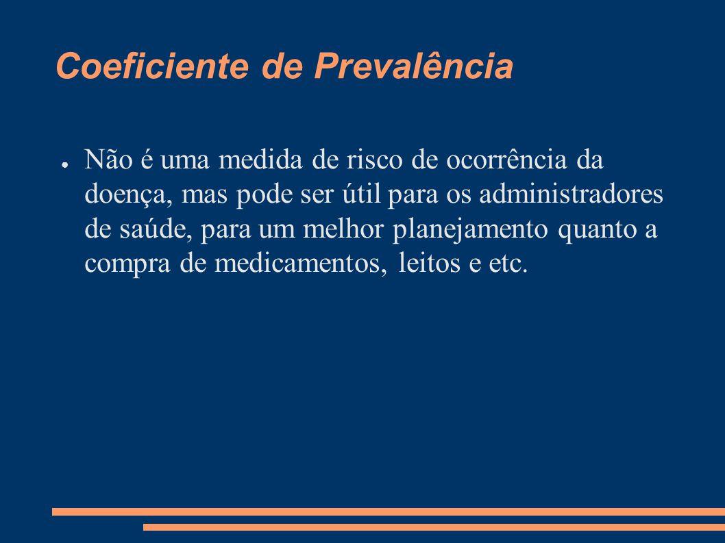 Coeficiente de Prevalência ● Não é uma medida de risco de ocorrência da doença, mas pode ser útil para os administradores de saúde, para um melhor pla