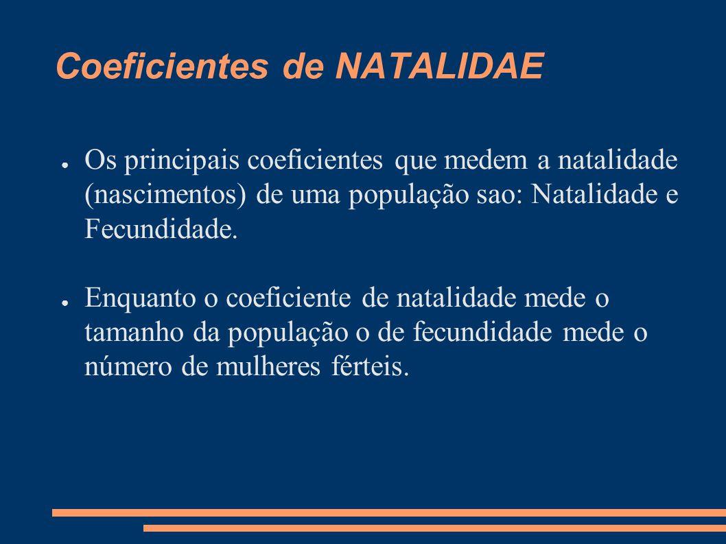 Coeficientes de NATALIDAE ● Os principais coeficientes que medem a natalidade (nascimentos) de uma população sao: Natalidade e Fecundidade. ● Enquanto