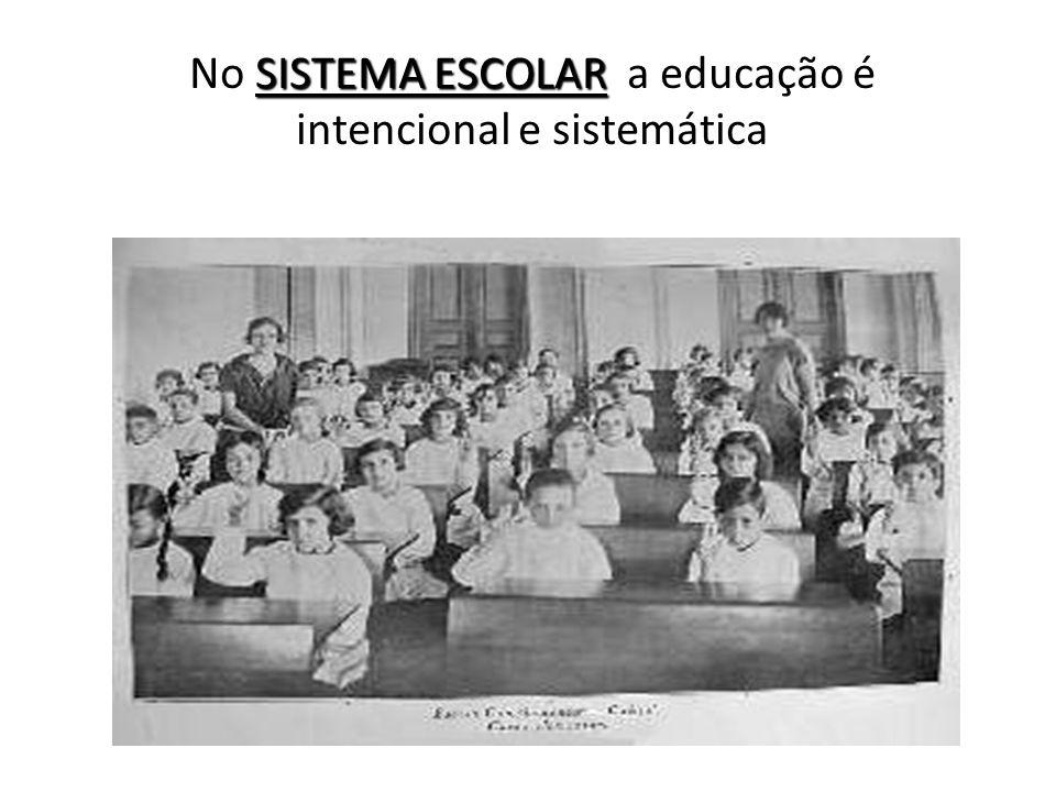 SISTEMA ESCOLAR No SISTEMA ESCOLAR a educação é intencional e sistemática