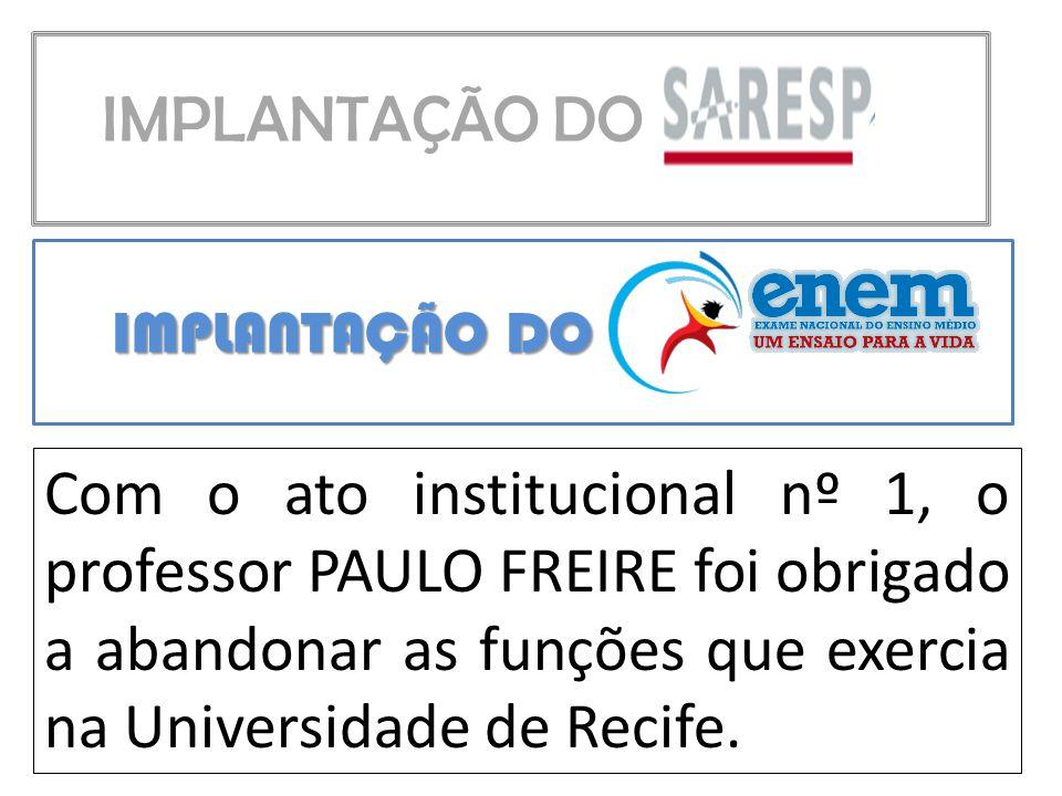 IMPLANTAÇÃO DO Com o ato institucional nº 1, o professor PAULO FREIRE foi obrigado a abandonar as funções que exercia na Universidade de Recife.