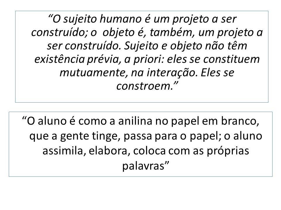 O sujeito humano é um projeto a ser construído; o objeto é, também, um projeto a ser construído.