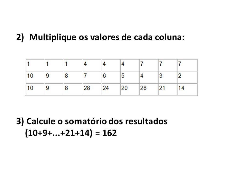 2)Multiplique os valores de cada coluna: 3) Calcule o somatório dos resultados (10+9+...+21+14) = 162