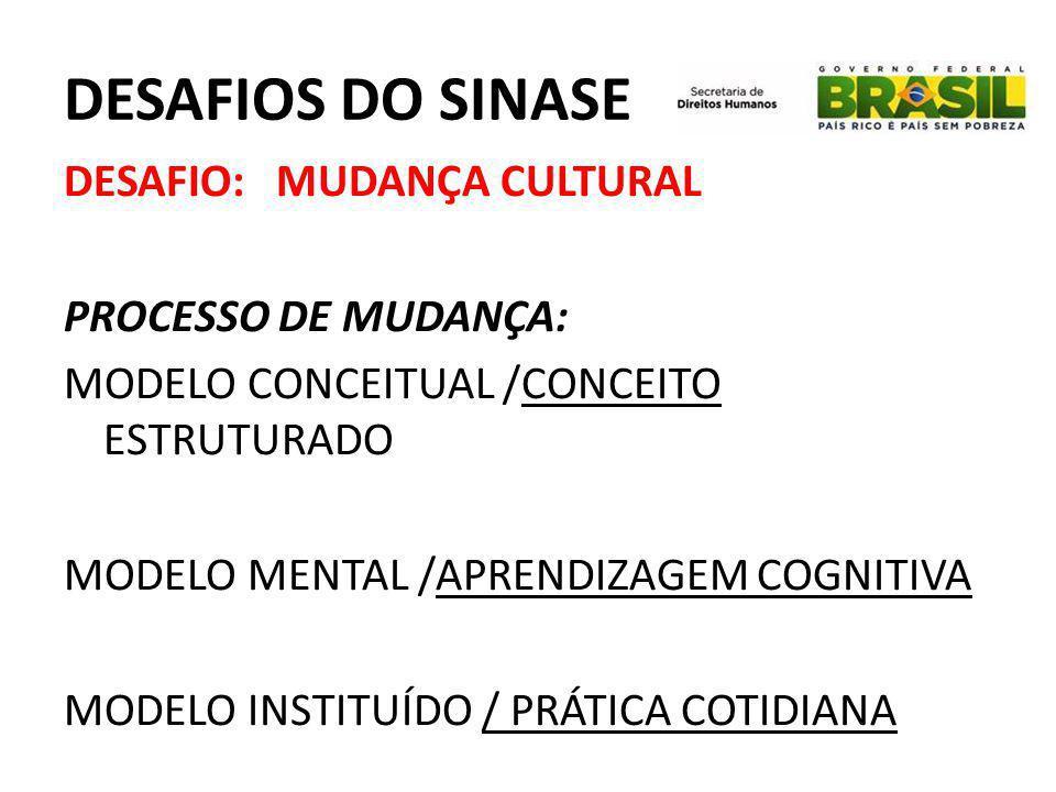DESAFIOS DO SINASE DESAFIO: MUDANÇA CULTURAL PROCESSO DE MUDANÇA: MODELO CONCEITUAL /CONCEITO ESTRUTURADO MODELO MENTAL /APRENDIZAGEM COGNITIVA MODELO