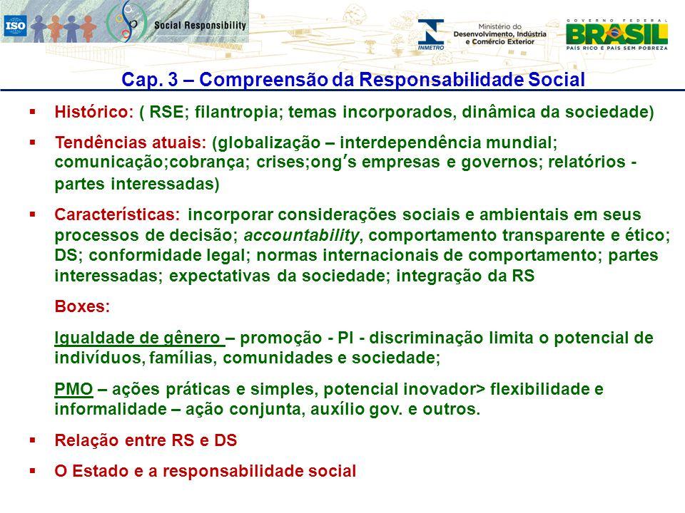 Cap. 3 – Compreensão da Responsabilidade Social  Histórico: ( RSE; filantropia; temas incorporados, dinâmica da sociedade)  Tendências atuais: (glob