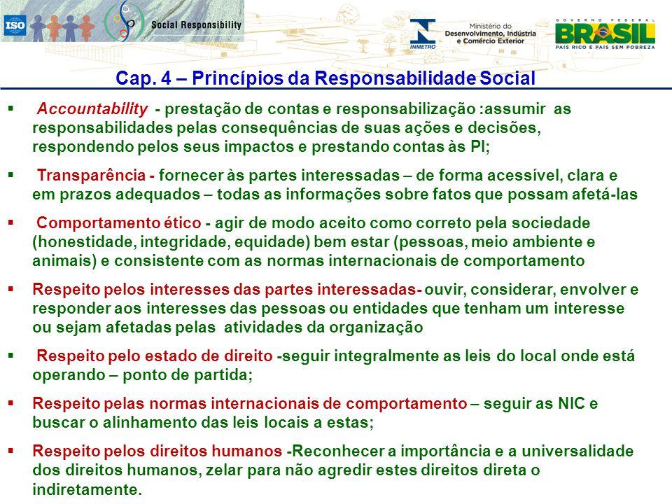 Cap. 4 – Princípios da Responsabilidade Social  Accountability - prestação de contas e responsabilização :assumir as responsabilidades pelas consequê
