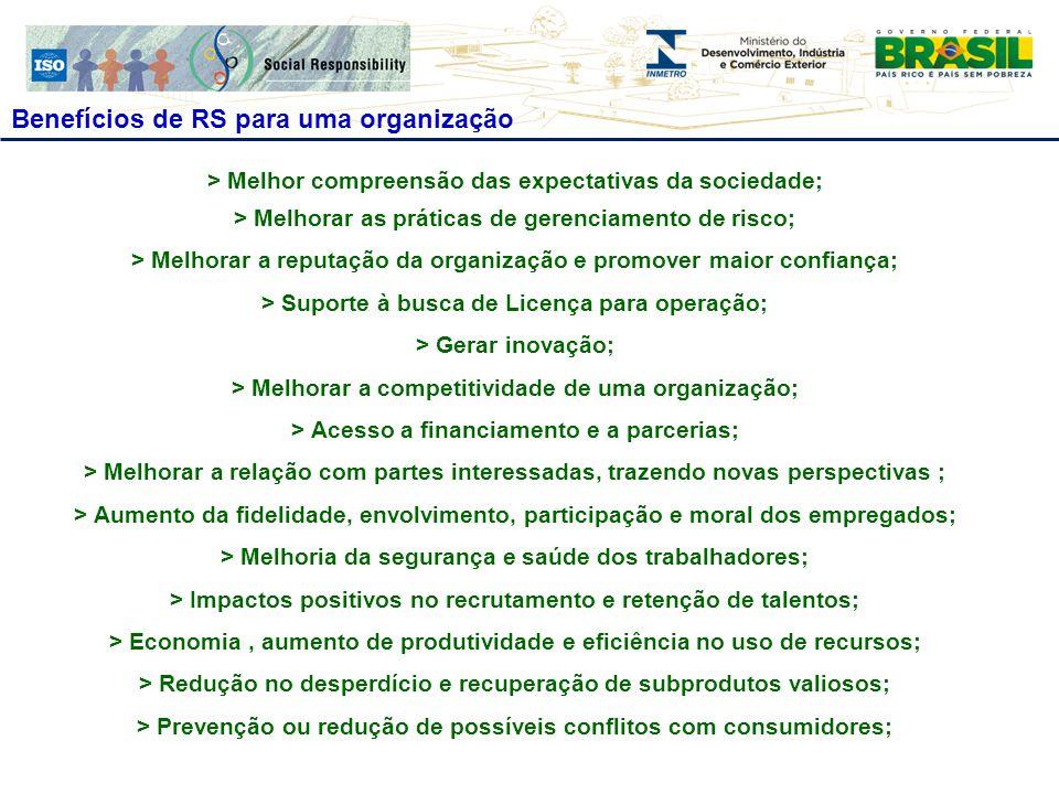 Benefícios de RS para uma organização > Melhor compreensão das expectativas da sociedade; > Melhorar as práticas de gerenciamento de risco; > Melhorar