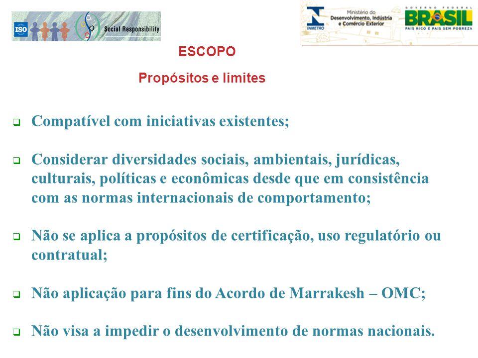 ESCOPO  Compatível com iniciativas existentes;  Considerar diversidades sociais, ambientais, jurídicas, culturais, políticas e econômicas desde que