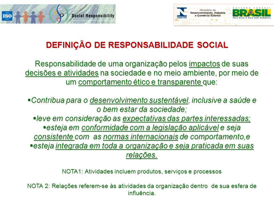 Responsabilidade de uma organização pelos impactos de suas decisões e atividades na sociedade e no meio ambiente, por meio de um comportamento ético e
