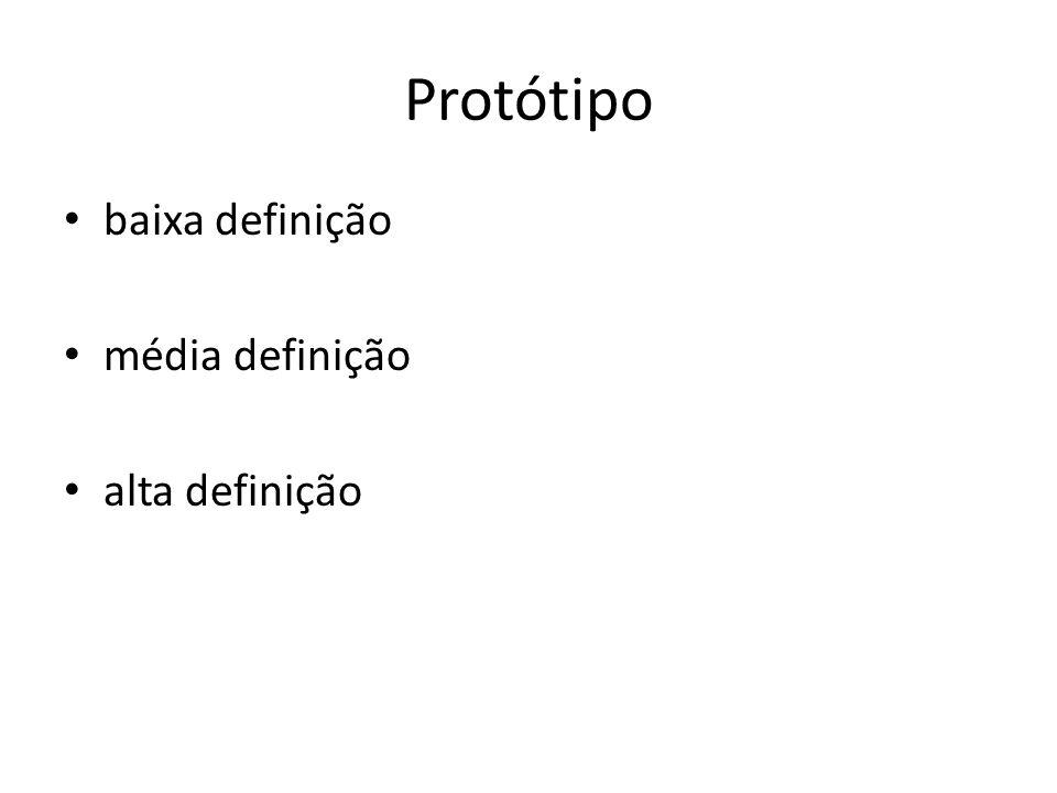 Protótipo • baixa definição • média definição • alta definição