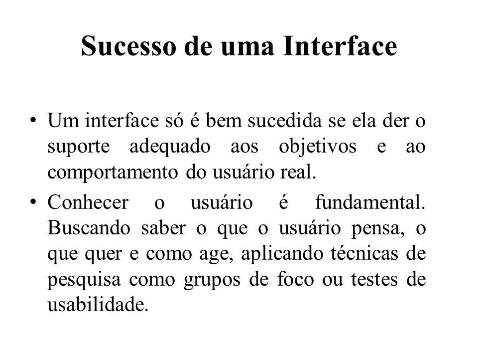 Sucesso de uma Interface • Um interface só é bem sucedida se ela der o suporte adequado aos objetivos e ao comportamento do usuário real. • Conhecer o