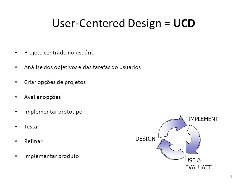 User-Centered Design = UCD • Projeto centrado no usuário • Análise dos objetivos e das tarefas do usuários • Criar opções de projetos • Avaliar opções
