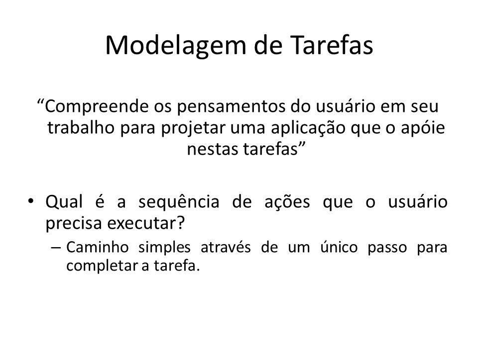 """Modelagem de Tarefas """"Compreende os pensamentos do usuário em seu trabalho para projetar uma aplicação que o apóie nestas tarefas"""" • Qual é a sequênci"""