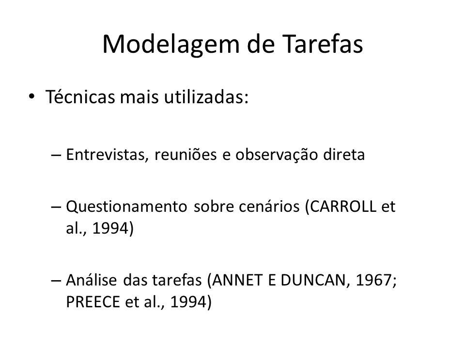 Modelagem de Tarefas • Técnicas mais utilizadas: – Entrevistas, reuniões e observação direta – Questionamento sobre cenários (CARROLL et al., 1994) –