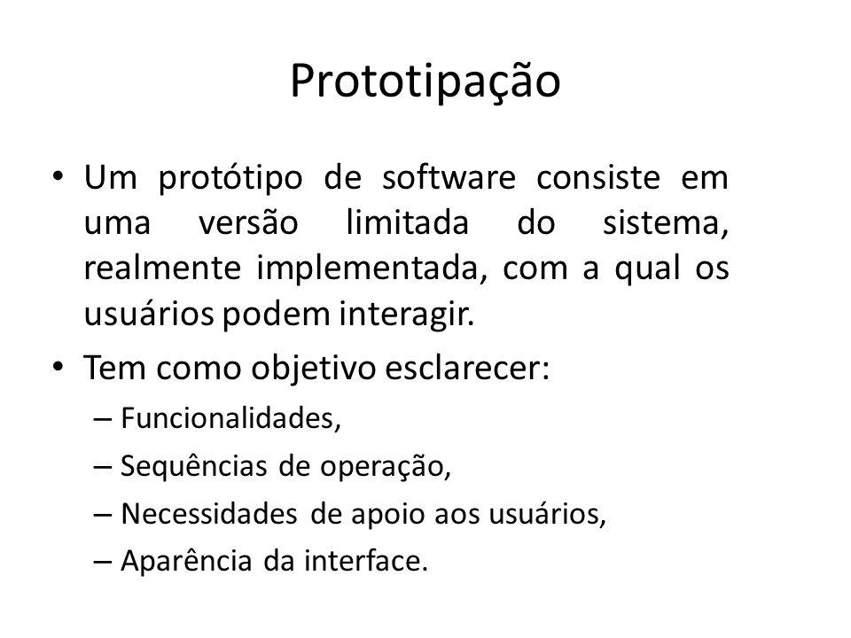 Prototipação • Um protótipo de software consiste em uma versão limitada do sistema, realmente implementada, com a qual os usuários podem interagir. •