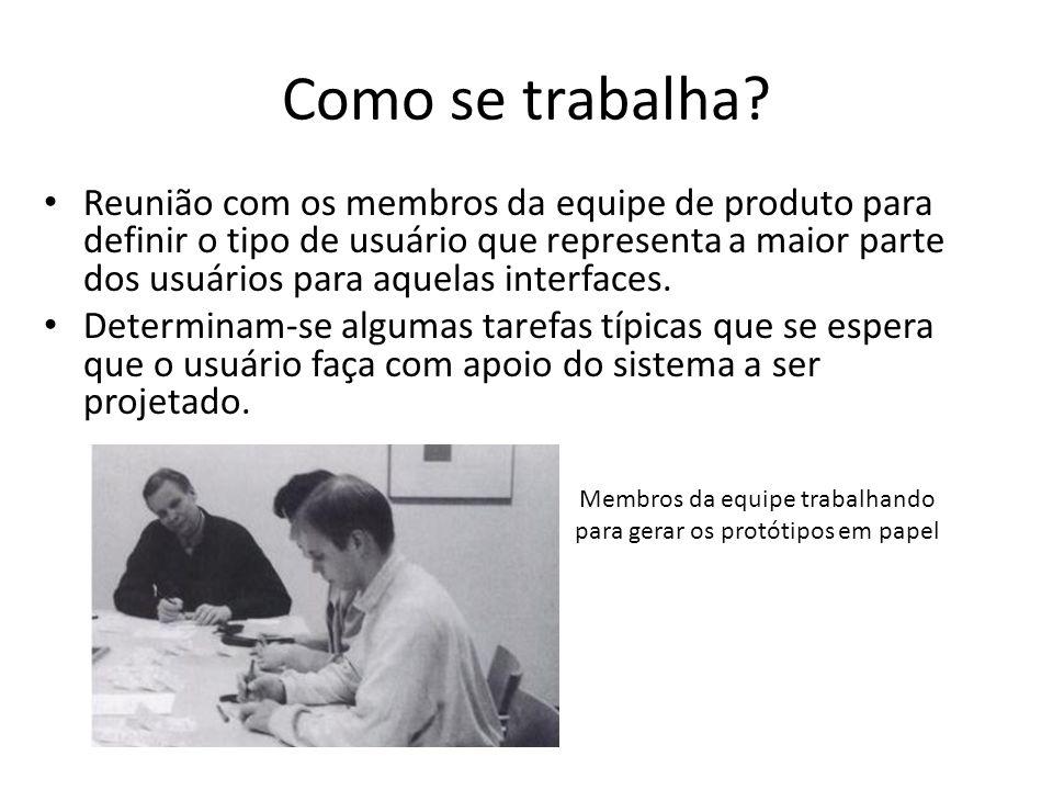 Como se trabalha? • Reunião com os membros da equipe de produto para definir o tipo de usuário que representa a maior parte dos usuários para aquelas