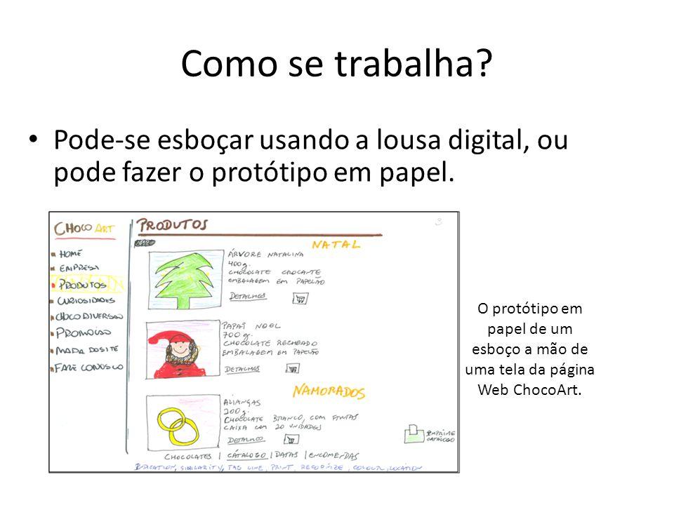 Como se trabalha? • Pode-se esboçar usando a lousa digital, ou pode fazer o protótipo em papel. O protótipo em papel de um esboço a mão de uma tela da