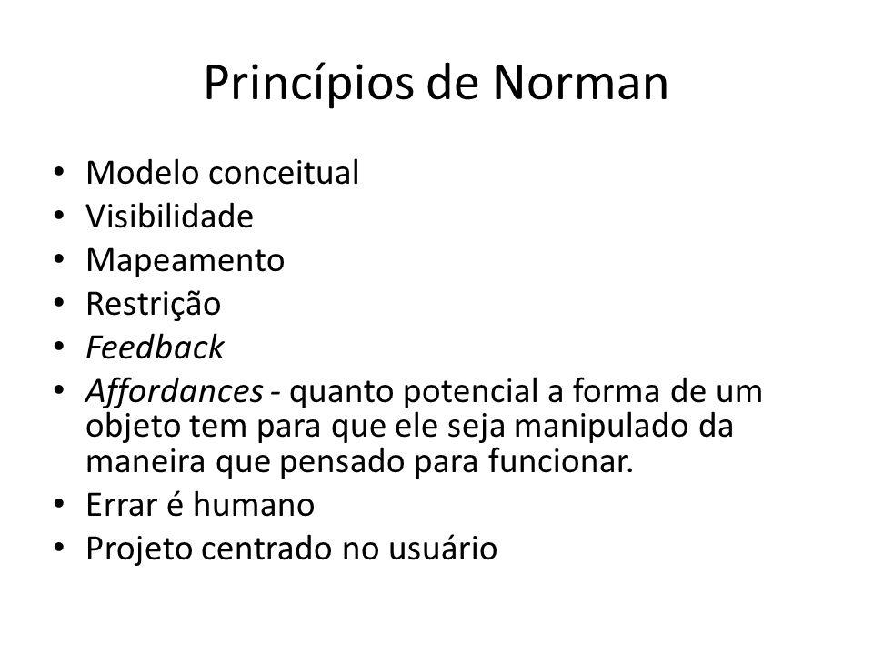 Princípios de Norman • Modelo conceitual • Visibilidade • Mapeamento • Restrição • Feedback • Affordances - quanto potencial a forma de um objeto tem