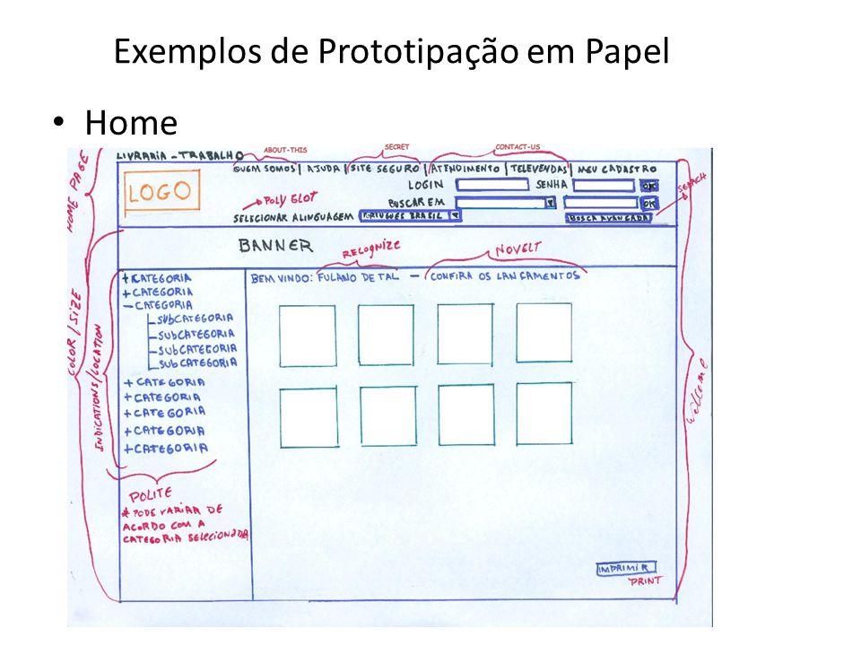 Exemplos de Prototipação em Papel • Home